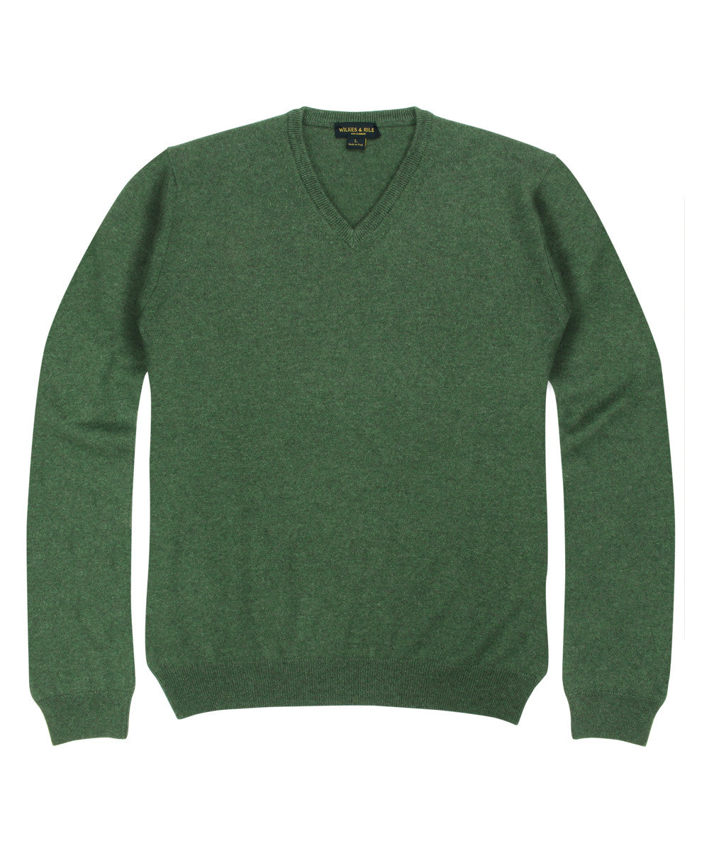 Wilkes & Riley 100% Cashmere Sweater W/ Loro Piana Yarn - Forest Green V-Neck