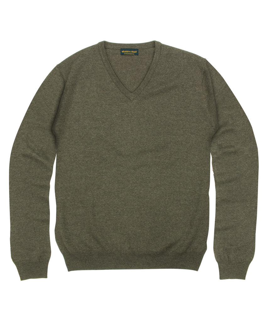 Wilkes & Riley 100% Pure Merino Wool Zegna Baruffa V-Neck Sweater in Brown
