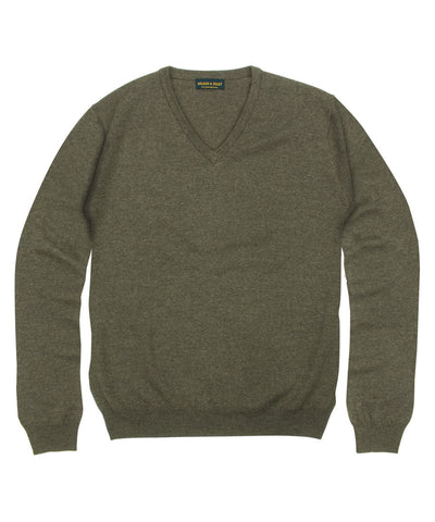 100% Pure Merino Wool Zegna Baruffa V-Neck Sweater - Brown