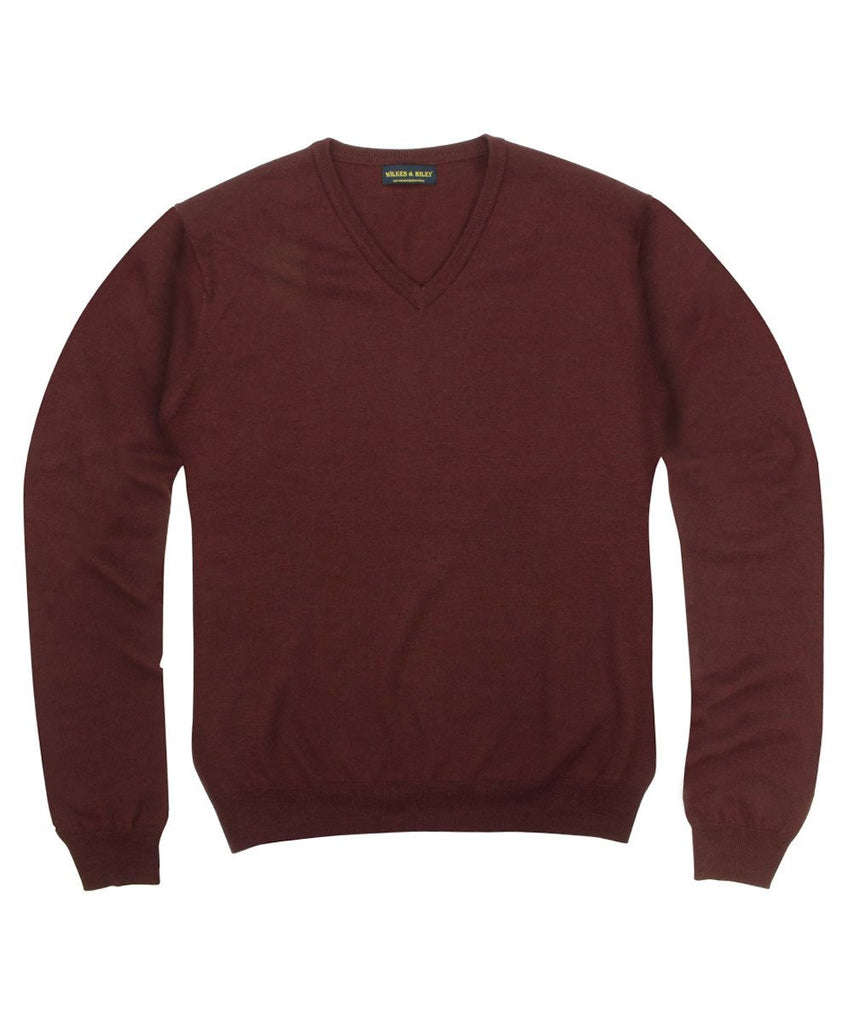 Wilkes & Riley 100% Pure Merino Wool Zegna Baruffa V-Neck Sweater - Burgundy