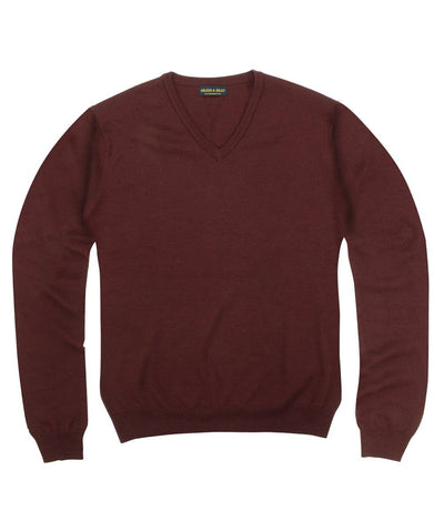100% Pure Merino Wool Zegna Baruffa V-Neck Sweater - Burgundy