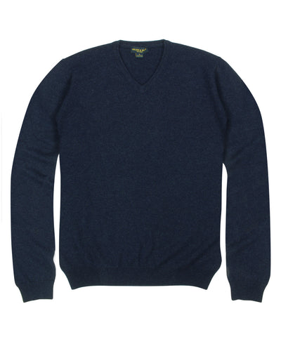 100% Cashmere Sweater w/ Loro Piana Yarn - Navy V-Neck