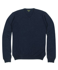 Wilkes & Riley 100% Cashmere Sweater W/ Loro Piana Yarn - Navy V-Neck