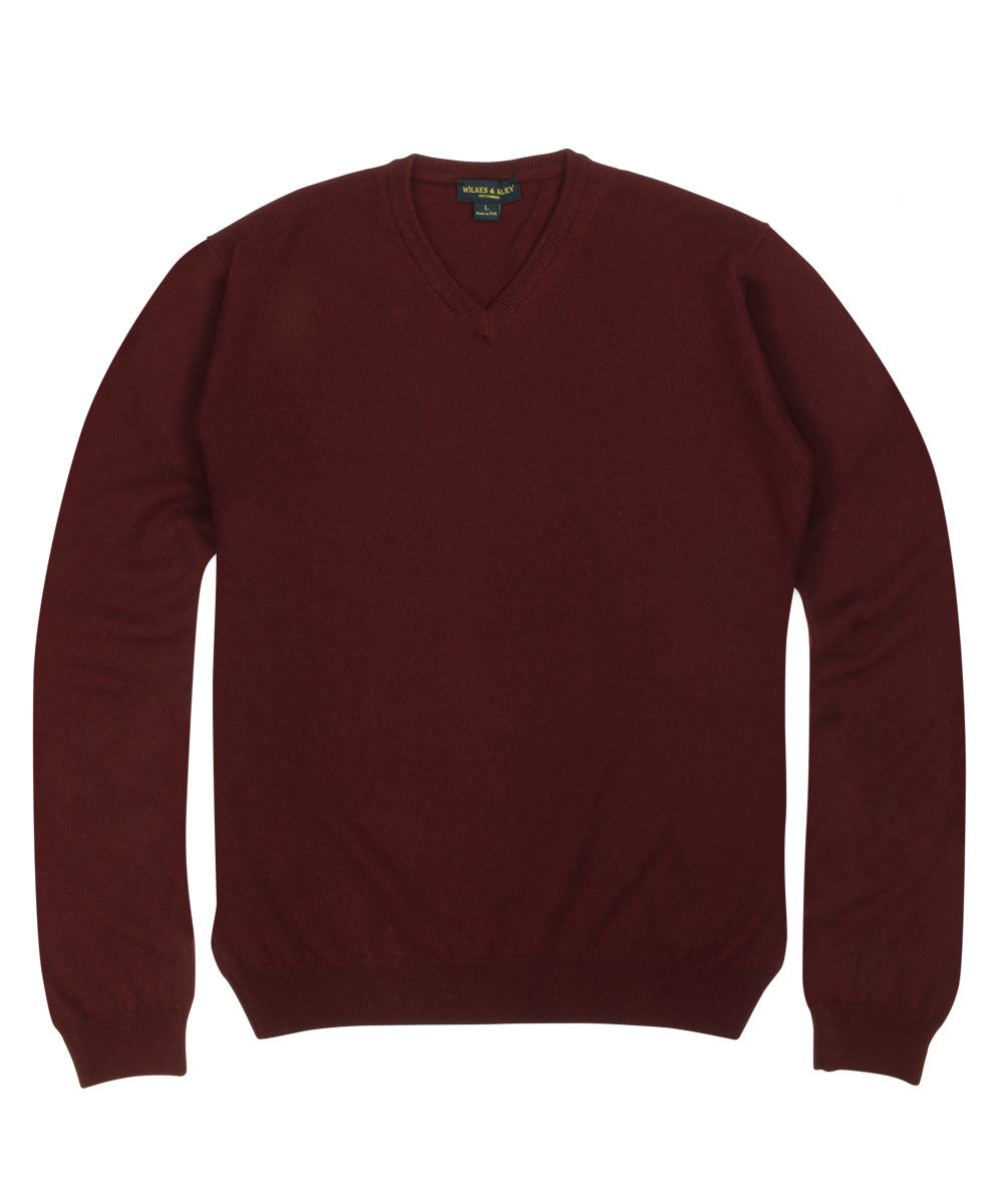 Wilkes & Riley 100% Cashmere V-neck Sweater W/ Loro Piana Yarn - Burgundy