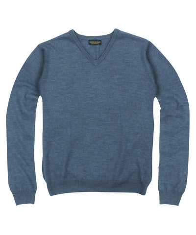 100% Pure Merino Wool Zegna Baruffa V-Neck Sweater - Blue