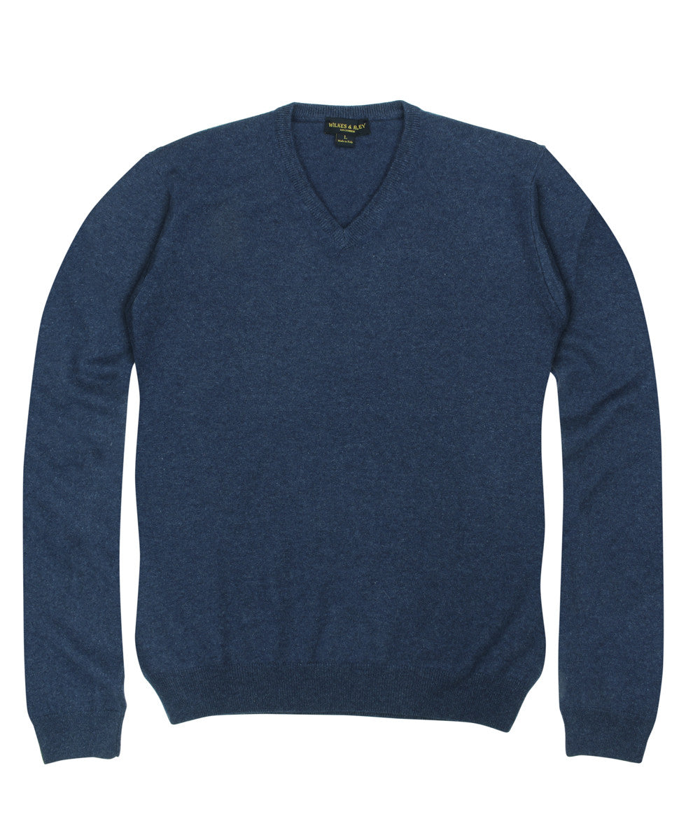 Wilkes & Riley 100% Cashmere V-neck Sweater W/ Loro Piana Yarn in Blue