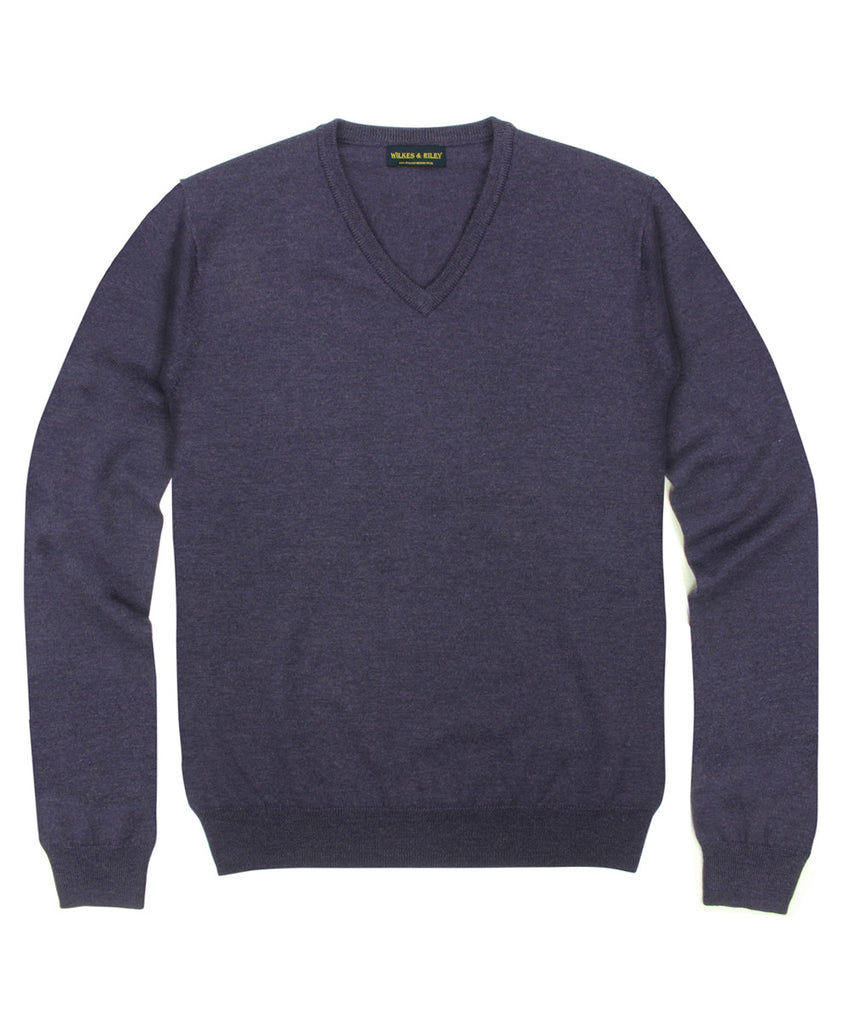 Wilkes & Riley 100% Pure Merino Wool Zegna Baruffa V-neck Sweater in Plum