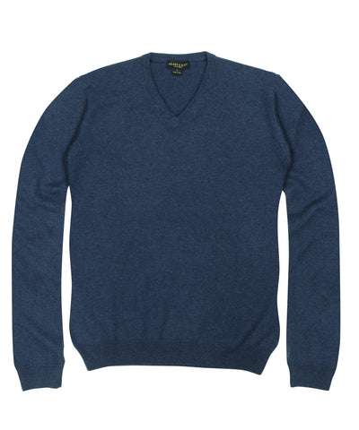 100% Cashmere Sweater w/ Loro Piana Yarn - Blue V-Neck