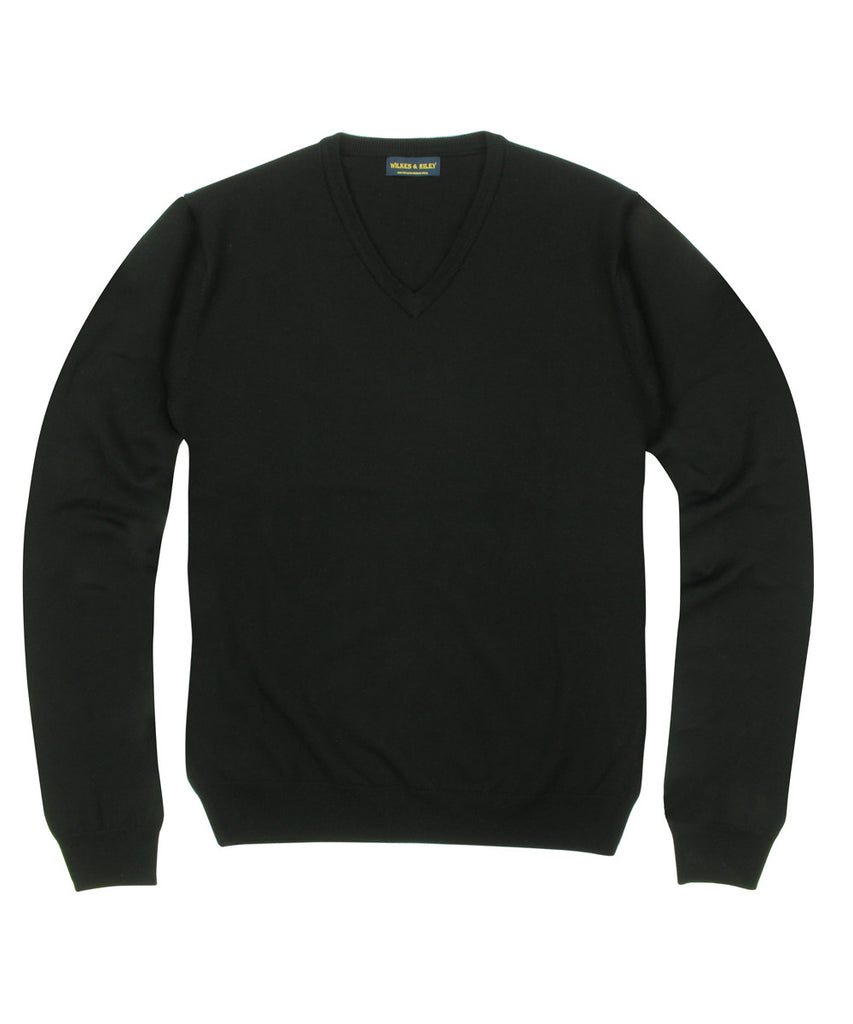 Wilkes & Riley 100% Pure Merino Wool Zegna Baruffa V-Neck Sweater - Black