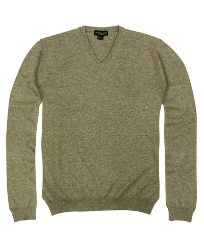 100% Cashmere Sweater w/ Loro Piana Yarn - Taupe V-Neck
