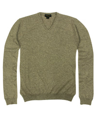 Wilkes & Riley 100% Cashmere Sweater W/ Loro Piana Yarn - Taupe V-Neck