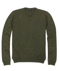 100% Cashmere Sweater w/ Loro Piana Yarn - Brown V-Neck
