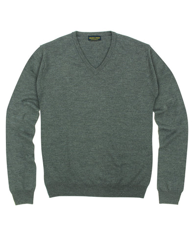 100% Pure Merino Wool Zegna Baruffa V-Neck Sweater - Grey