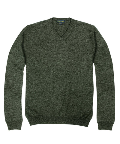 100% Cashmere Sweater w/ Loro Piana Yarn - Charcoal V-Neck
