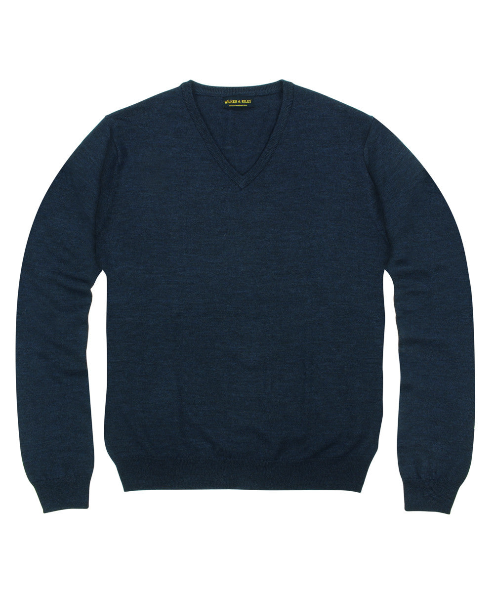 eedc8ed0424f Wilkes & Riley 100% Pure Merino Wool Zegna Baruffa V-Neck Sweater in Navy