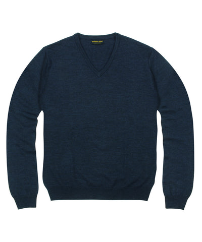 100% Pure Merino Wool Zegna Baruffa V-Neck Sweater - Navy