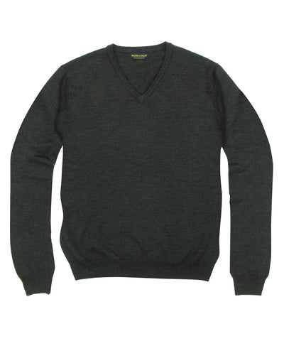 100% Pure Merino Wool Zegna Baruffa V-Neck Sweater - Charcoal