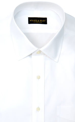 Tailored Fit White Solid Spread Collar Supima® Cotton Non-Iron Pinpoint Oxford Dress Shirt