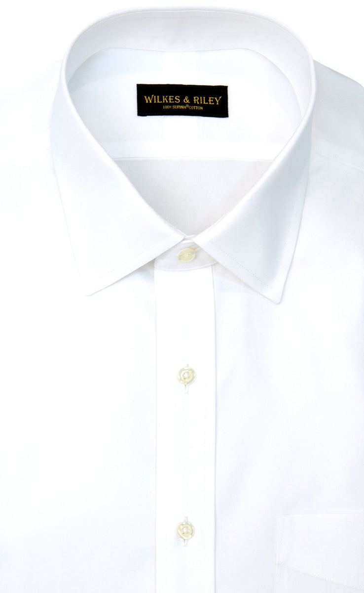 Wilkes and Riley Tailored Fit White Solid Spread Collar Supima® Cotton Non-Iron Pinpoint Oxford Dress Shirt