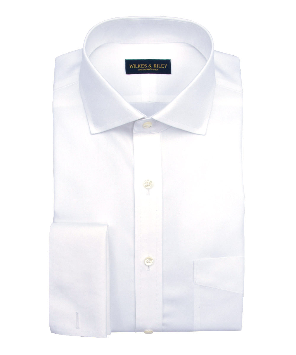 Slim Fit White English Spread Collar French Cuff Supima® Cotton Non-Iron Pinpoint Dress Shirt