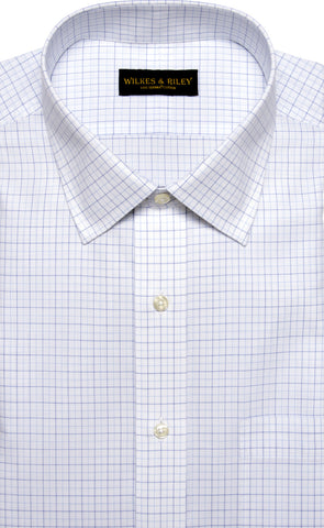 Tailored Fit White Ground Navy / Lt Blue Tattersall Spread Collar  Supima® Cotton Non-Iron Broadcloth