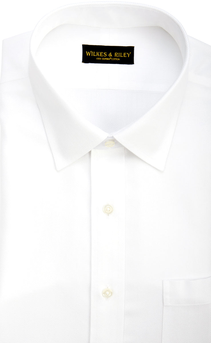 Wilkes & Riley White Herringbone Spread Collar