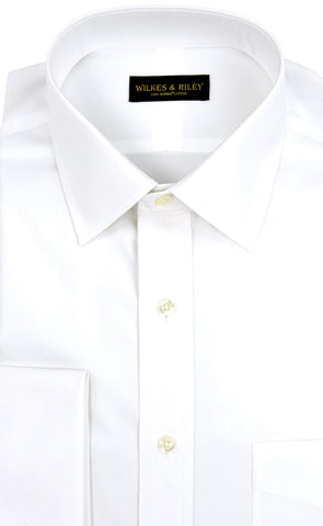 Classic Fit White Solid Spread Collar French Cuff Supima® Cotton Non-Iron Pinpoint Oxford Dress Shirt (B/T)