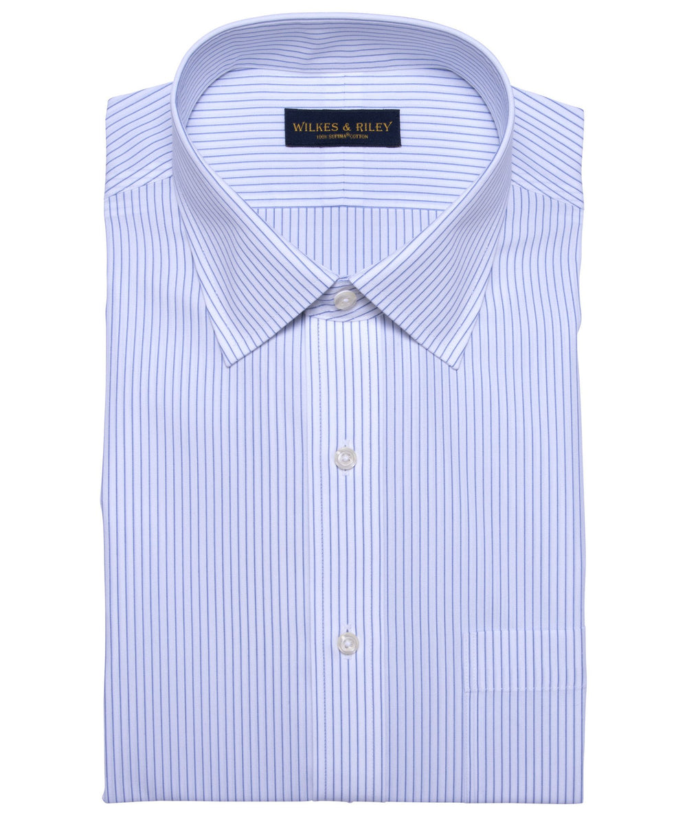 Wilkes & Riley Tailored Fit Non-Iron White Ground Blue Stripe Spread Collar Dress shirt
