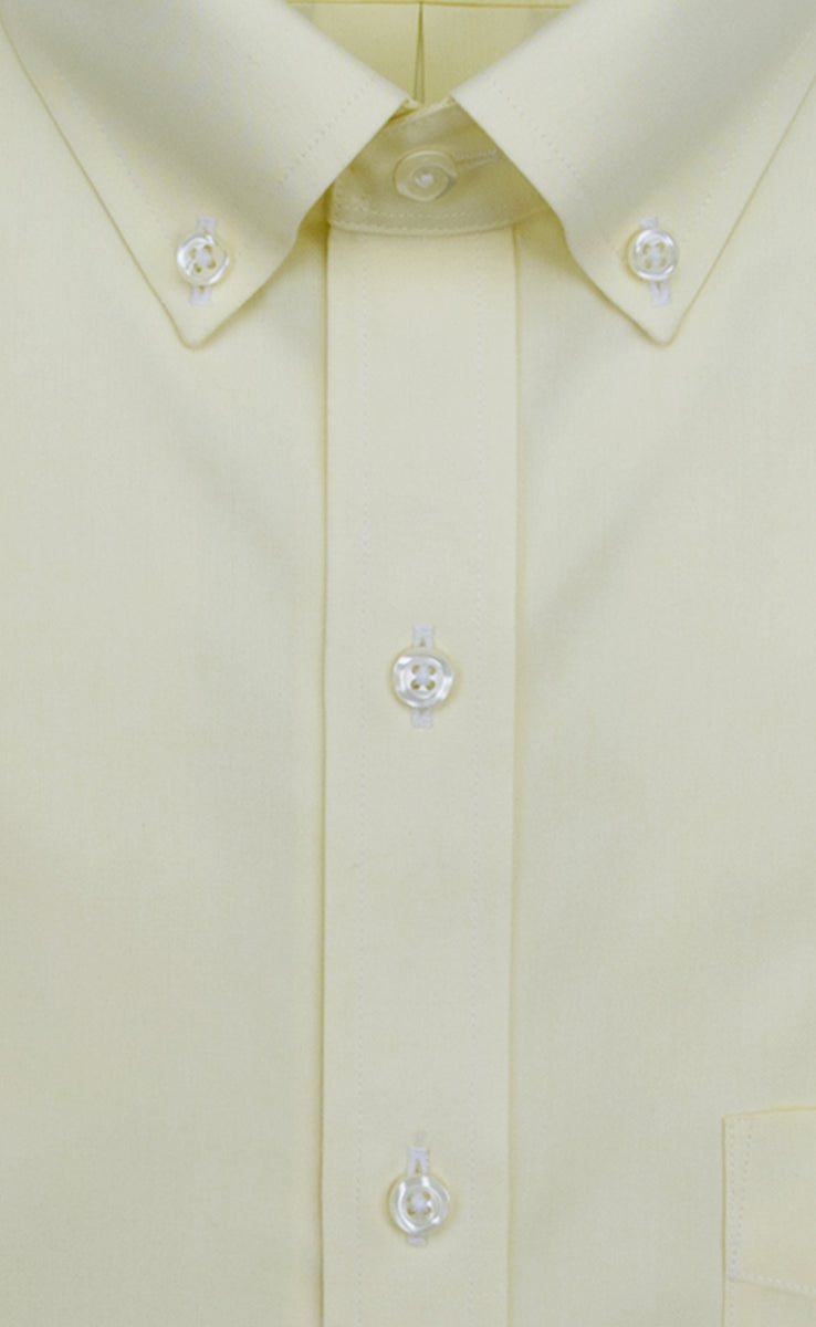 Slim Fit Yellow Solid Button Down Collar Non Iron Men S Dress Shirt