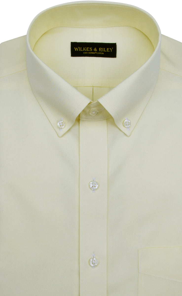 Slim Fit Yellow Solid Button Down Collar Non Iron Mens Dress Shirt