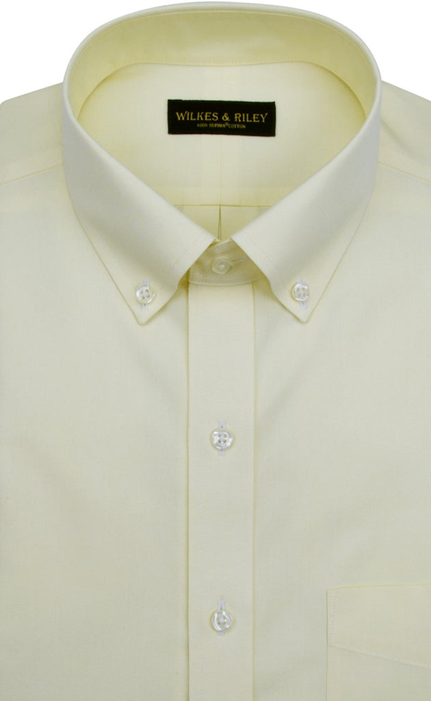 Classic Fit Yellow Solid Button-Down Collar Supima® Cotton Non-Iron Pinpoint Oxford Dress Shirt (B/T)