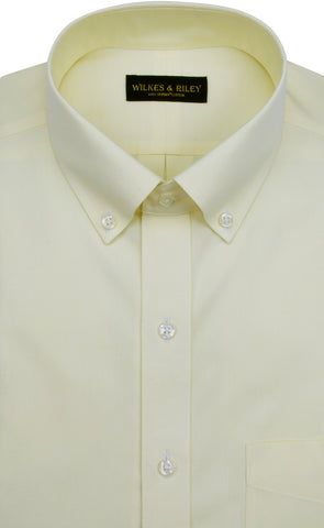 Slim Fit Yellow Solid Button-Down Collar Supima® cotton Non-Iron Pinpoint Oxford Dress Shirt