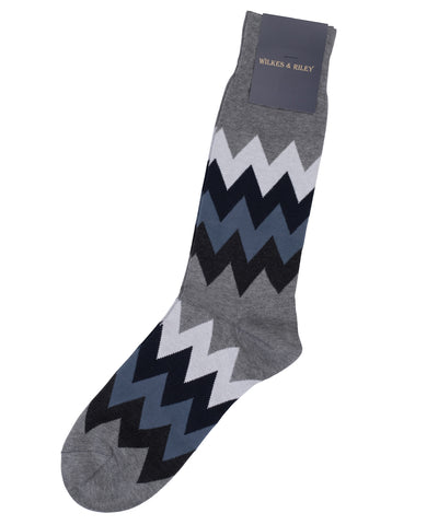 Grey Zig Zag Cotton Sock - Mid Calf