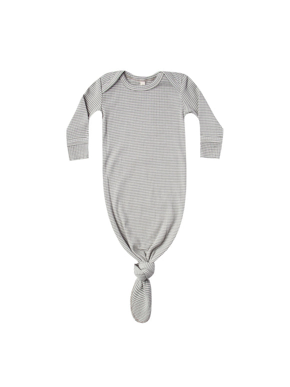 Quincy Mae Ribbed Knotted Baby Gown In Eucalyptus Stripe - Flying Ryno