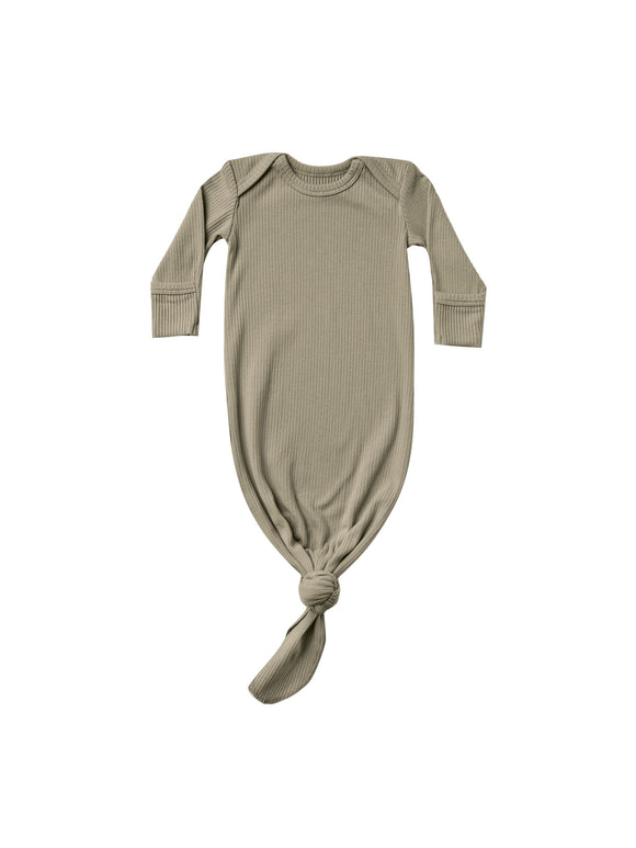 Quincy Mae Ribbed Knotted Baby Gown In Olive