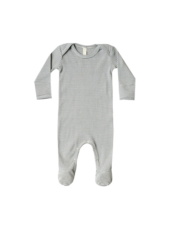 Quincy Mae Ribbed Footie Eucalyptus Stripe - Flying Ryno