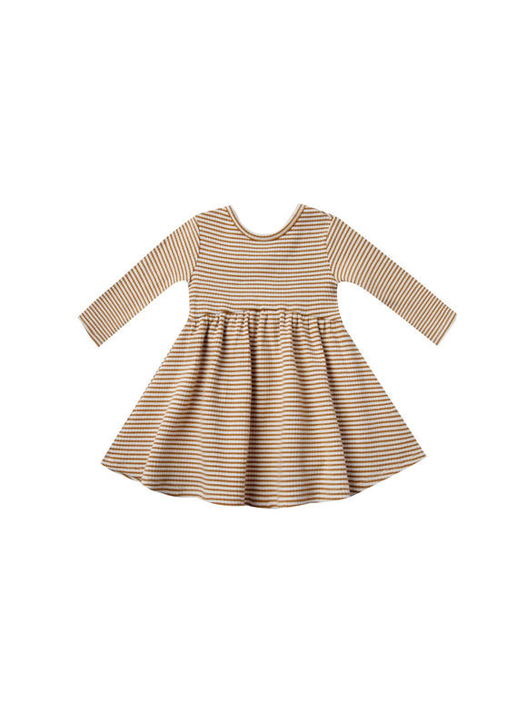 Quincy Mae Ribbed Long Sleeve Dress in Walnut Stripe - Flying Ryno