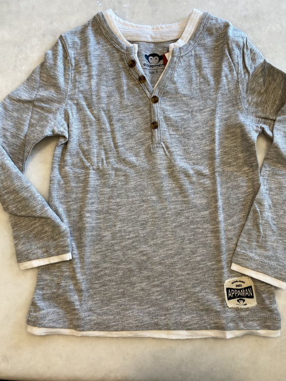 Appaman Heather Grey Stripe Long Sleeve Shirt - Flying Ryno