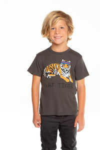 Chaser Sporty Tiger Gauzy Cotton Vintage Black SS Tee - Flying Ryno