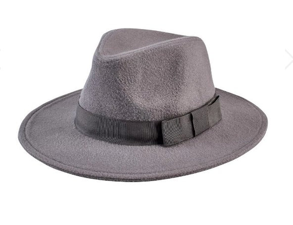 Faux Wool Fedora With Grosgrain Trim - Flying Ryno
