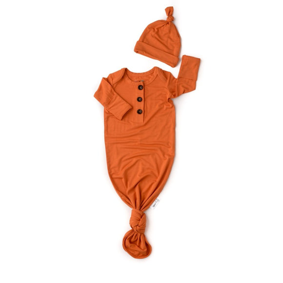Gigi and Max Burnt Orange Knotted Button Newborn Gown and Hat - Flying Ryno