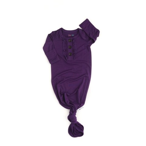 Gigi and Max Plum Knotted Ruffle Button Gown - Flying Ryno