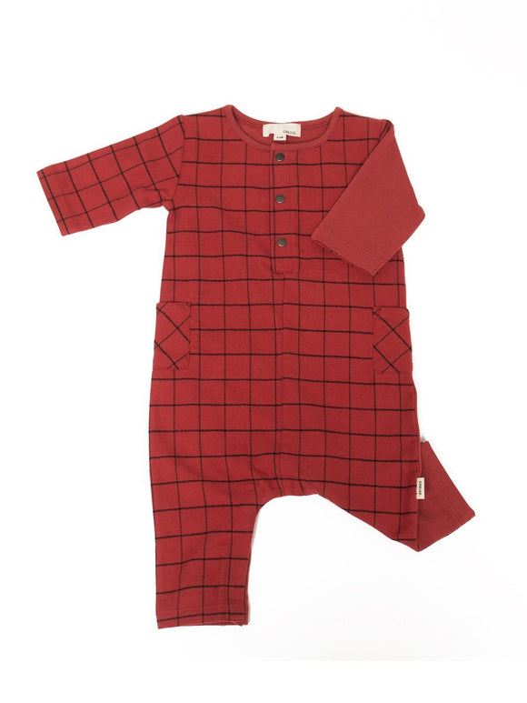 Greige The Long Sleeve Remix Romper Maple Red - Flying Ryno