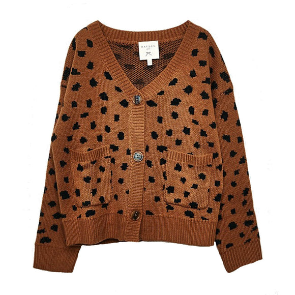 Hayden Girls Animal Print Button Front Cardigan Camel - Flying Ryno