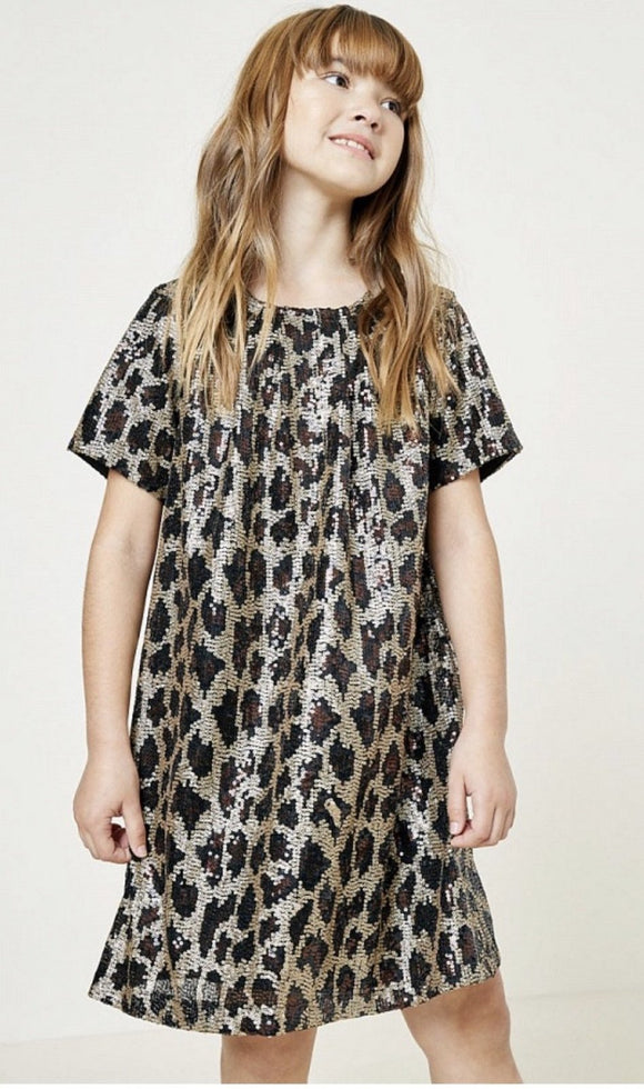 Hayden Girls Leopard Print Sequin Dress - Flying Ryno