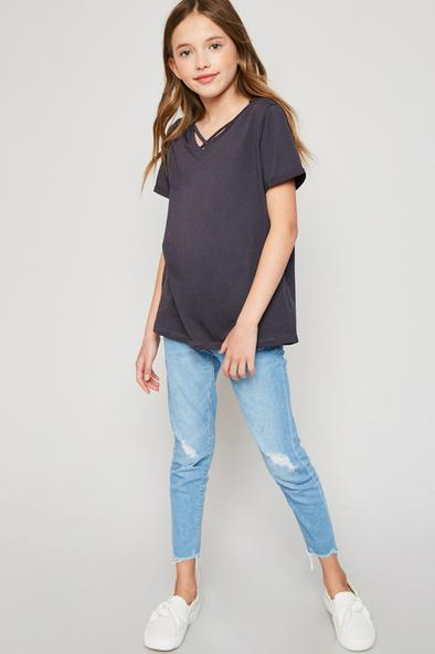 Hayden Girls Simple Strapy V Neck (Color Options) - Flying Ryno