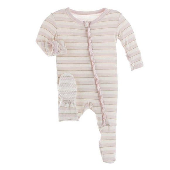 Kickee Pants Classic Ruffle Footie with Zipper Everyday Heroes Sweet Stripe - Flying Ryno
