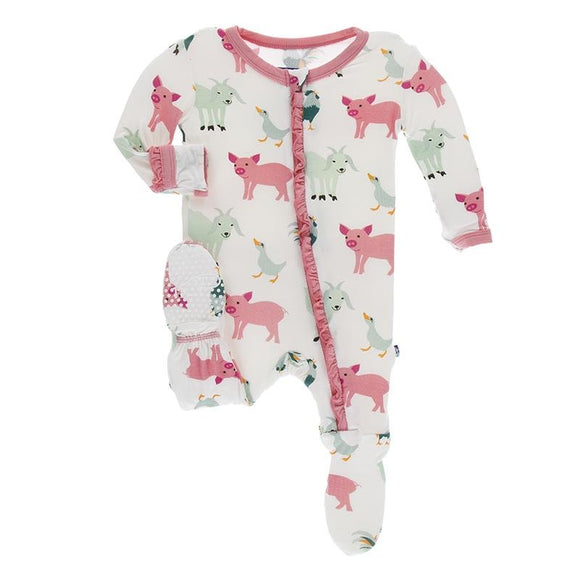 Kickee Pants Classic Ruffle Footie Zipper Natural Farm Animals - Flying Ryno