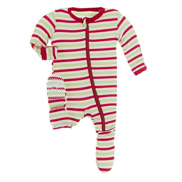 Kickee Pants Footie with Zipper Candy Cane Stripe - Flying Ryno
