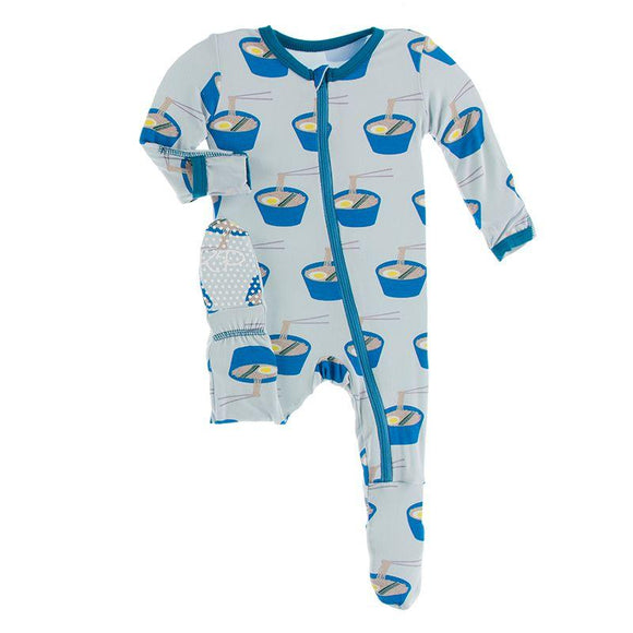 Kickee Pants Footie with Zipper Illusion Blue Ramen - Flying Ryno
